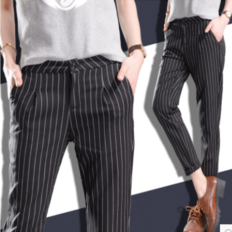 Winter Spring Women Slim Casual Pants Work Wear Career Black Stripe Pants Straight Pencil Pants Women trousers female-geekbuyig