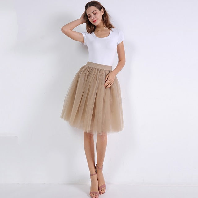 Fashion 5 Layers 60cm Fashion Tulle Skirt Pleated TUTU Skirts Womens Lolita Petticoat Bridesmaids Midi Skirt Jupe Saias faldas-geekbuyig