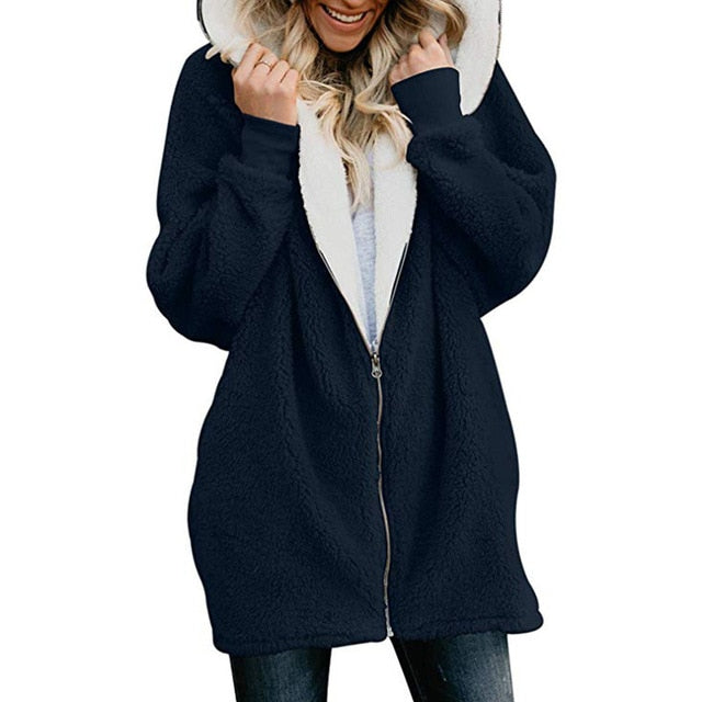 Autumn Winter Women Hoodies Casual Solid Fluffy Zipper Hoodie Hooded Jacket Loose Warm Ladies Coat Outerwear Plus Size 5XL-geekbuyig
