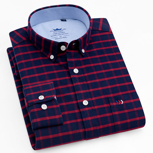 Men's 100% Cotton Multi Striped Oxford Dress Shirt with Left Chest Pocket Smart Casual Regular Fit Button-down Office Work Shirt-geekbuyig