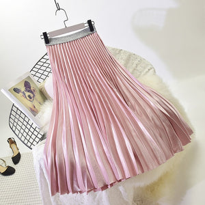 2018 Winter Women Elegant Pleated Skirt Elastic High Waist Women Long Skirt Female Autumn Ladies High Quality Midi Skirt Saia-geekbuyig