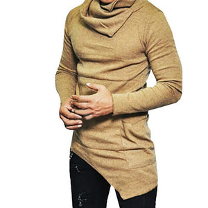 LASPERAL Men's High-necked Sweaters Irregular Design Top Male Sweater Solid Color Mens Casual Sweater Pullover Sweaters For Mens-geekbuyig