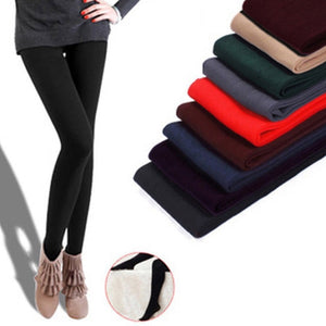 Women Autumn Winter Solid High Elasticity Thick Warm Tight Pants H9-geekbuyig