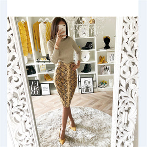 Sexy Multi Color Snake Print Midi Pencil Skirt Women 2018 Fashion Elastic High Waist Office Lady Bodycon Skirts Saias faldas muj-geekbuyig