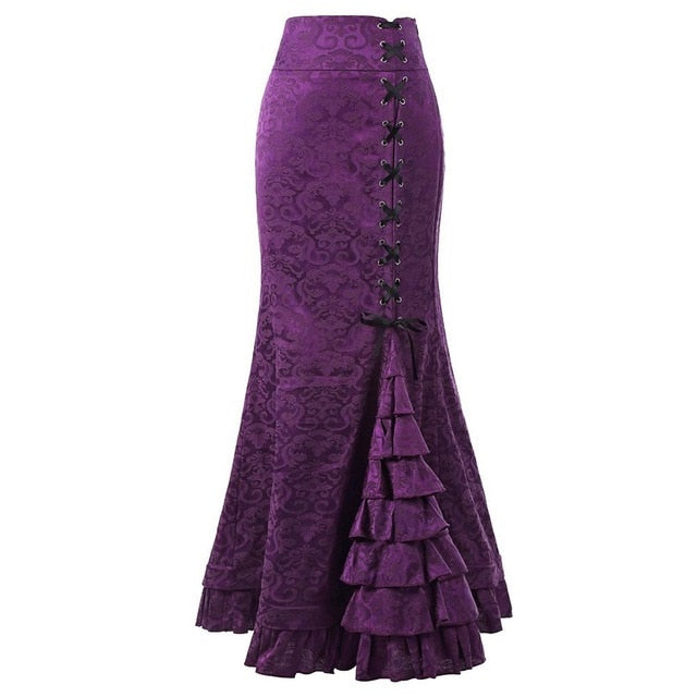New Women Sexy Gothic Vintage Long Mermaid Skirt Floral Print Ruffe Lace Up Maxi Skirt Bodycon Slim Elegant Long Skirt-geekbuyig