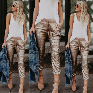Women Casual Sequin Glitter Skinny Pants High Waist Stretch Slim Pencil Trousers-geekbuyig
