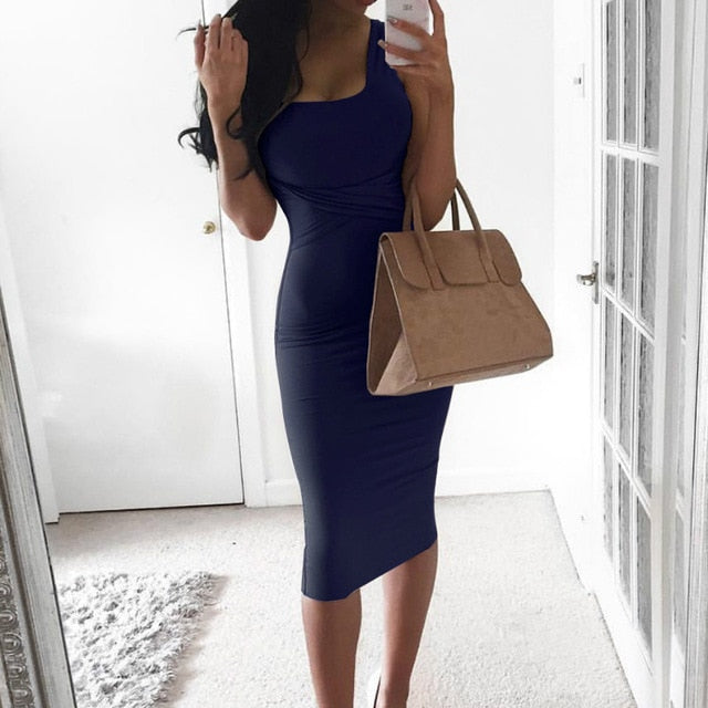 Women Summer Bodycon Dress 2018 Scoop Collar Sleeveless O-neck Sexy Midi Dresses Sheath Clubwear Femme Party Slim Dress GV575-geekbuyig