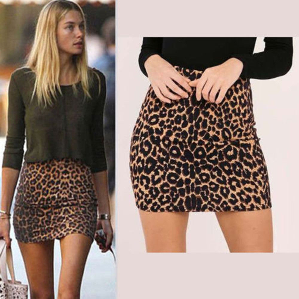 2018 New Fashion Women's Leopard Printed Skirt High Waist Sexy Pencil Bodycon Hip Mini Skirt Fits All Seasons Female faldas-geekbuyig