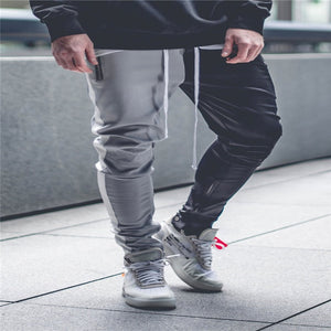 Men Fashion Two Colors Patchwork Drawstring Elastic Waist Trousers Slim Fit Trousers Tracksuit Pants Bottoms Skinny Sweatpants-geekbuyig