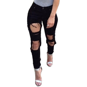 2019 New White Hole Ripped Jeans Women Jeggings Cool Denim High Waist Pants Capris Female Skinny Black Casual Jeans-geekbuyig