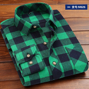 Men's Shirt 2019 Spring Autumn New Male Long Sleeve Flannel Plaid Shirt Brand Men Office Style Business Casual Shirts Plus Size-geekbuyig