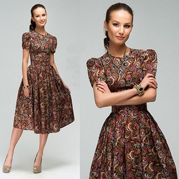 Autumn Women High quality knee-length dresses 2018 new Short sleeve printing summer dress lady Women Party vestidos-geekbuyig