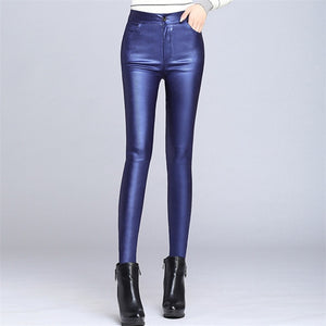 2018 Winter Spring Women Velvet PU Leather Pants Sexy Black Elastic Stretch Skinny Pencil Pants Women Faux Leather Tight Trouser-geekbuyig