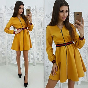 Women 2019 Spring Zipper Webbing Stitching Dress Fashion Contrast Color Striped A-Line Dresses Ladies Long Sleeve Casual Dress-geekbuyig