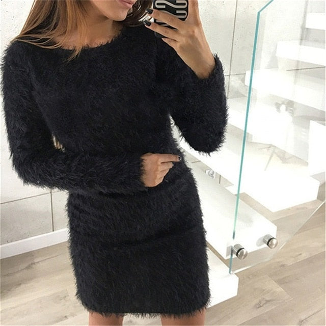 Fashion Winter Plush sweater Dress Women Party night Bodycon Christmas Black clothing Sexy Mini bandage knitted Dress For Female-geekbuyig