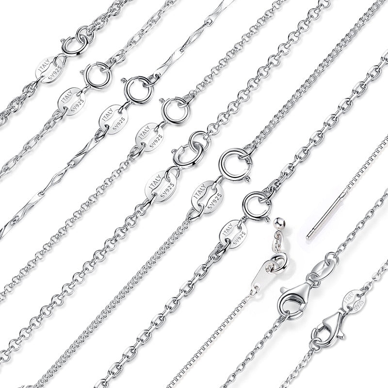 BAMOER Classic Basic Chain 100% 925 Sterling Silver Lobster Clasp Adjustable Necklace Chain Fashion Jewelry SCA009-45-geekbuyig