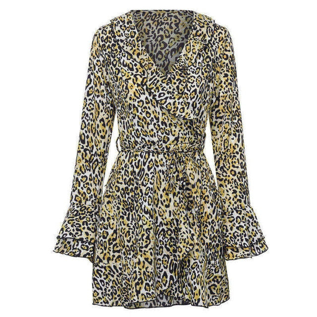 Feitong Womens Sexy Autumn Dress V-Neck Leopard Printed Ruffled Hem Flare Sleeve Party Wrap Mini Dress vestidos verano 2018 New-geekbuyig