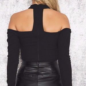 2018 Sexy Knitted Bodysuit Slim Halter Off Shoulder Lace Up Hollow Out Overalls Club Wear Women Black Jumpsuit Rompers-geekbuyig