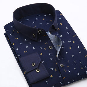 New 2018 Spring Men Casual Shirts Fashion Long Sleeve Brand Printed Button-Up Formal Business Polka Dot Floral Men Dress Shirt-geekbuyig