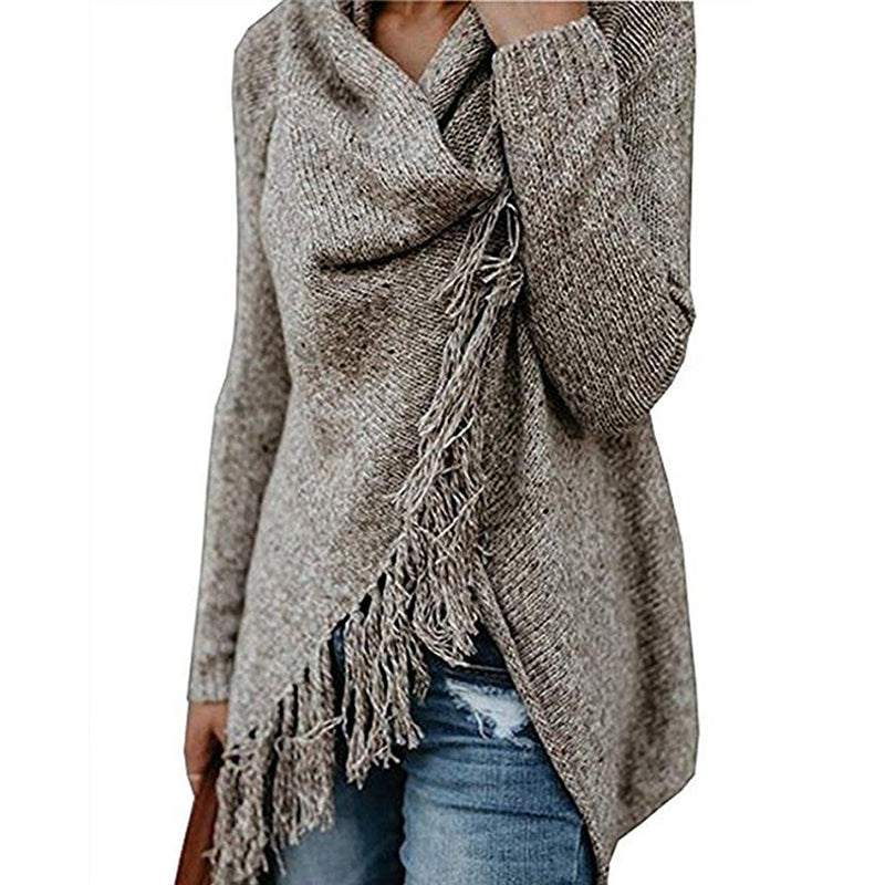 2018 Autumn Winter Women Knitted Pullover Long Sleeve Jumper Sweater Tassal Fringe Shawl Top Female Sweater Oversized Pullovers-geekbuyig