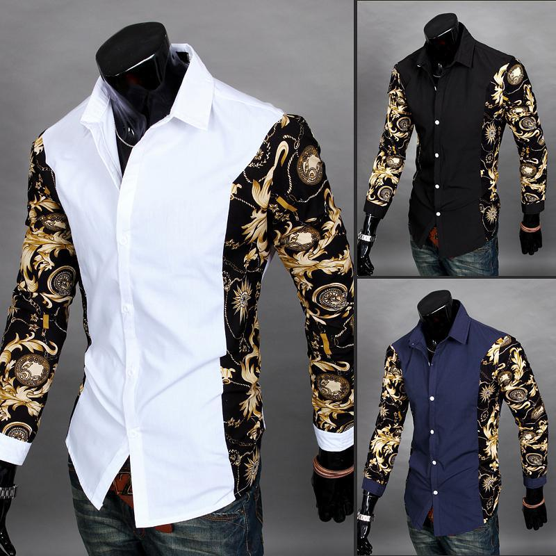 2019 Cheap Clothes China Homen Gold Chemise Camisa Social Masculina Dress Shirts White Gold Shirts Mens Luxury Baroque Club Tops-geekbuyig