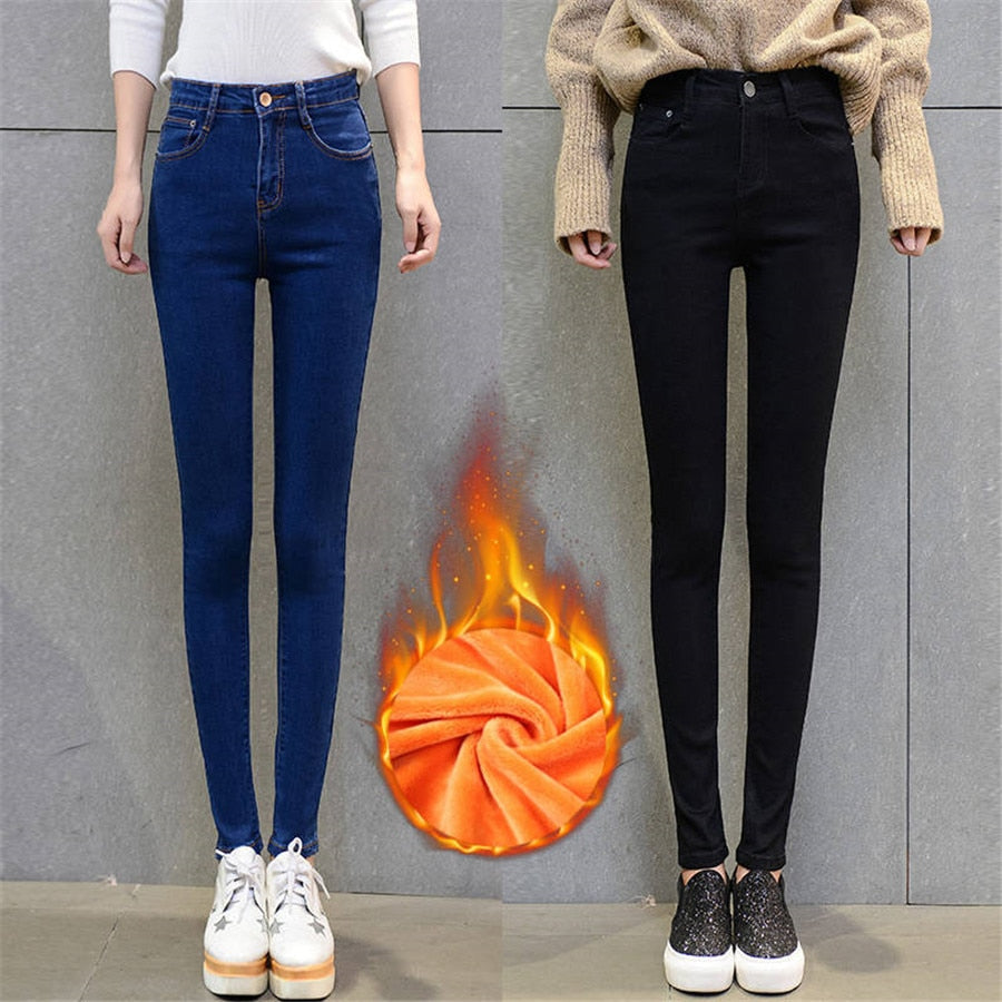 Plus Size Winter Jeans For Women Thick Flock High Waist Elastic Casual Denim Pencil Pants Skinny Female Trousers Stretch Jeans-geekbuyig