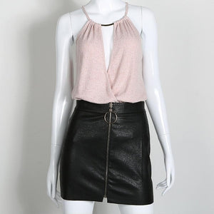 New Fashion Women Skirts Office Ladies Pu Leather Skirts Women Ring Zipper High Waist Mini Skirt Females Hip Package Black White-geekbuyig