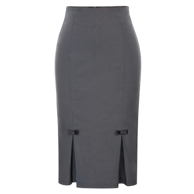 BP Women pencil skirt Vintage Retro Bow-Knot Decorated Hips-Wrapped Bodycon knee length Skirt solid color classic work skirt-geekbuyig