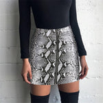 snakeskin sexy bodycon skirt 2018 women fashion high waist mini pencil snake skin skirts womens short PU Leather pencil skirts-geekbuyig