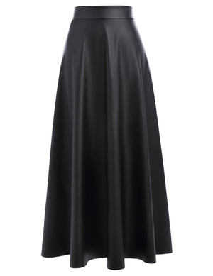 Autumn black skirts womens vintage high waist slim long maxi skirt lolita leather flared swing A-line skirt falda larga mujer-geekbuyig