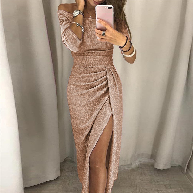 9 Colors S-3XL winter dress women Sexy Club shiny slit push up slash neck party formal long black red vestidos dresses woman-geekbuyig