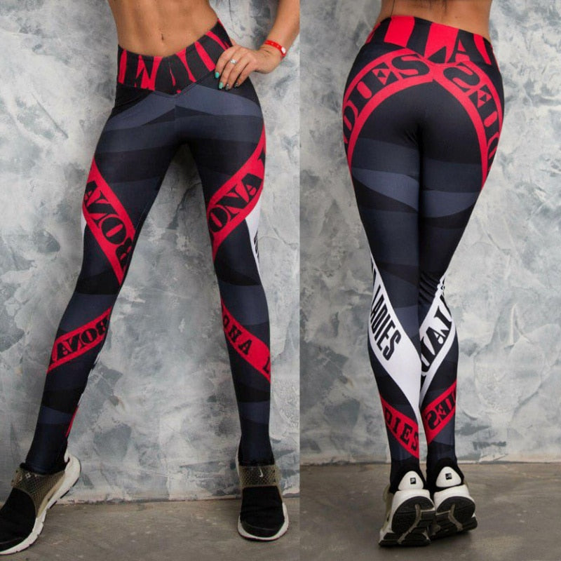 2018 Pants Women's Fitness Leggings Geometric Striped Letter Leggings Fashion Pants Skinny Leggings Ladies Clothing-geekbuyig