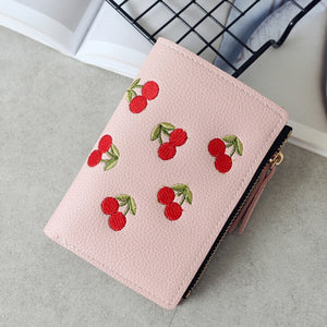 Fashion Women Girls Short Wallet Small PU Leather Cherry Embroidery Coin Purse Card Holders Lady Girl Mini Money Bag-geekbuyig