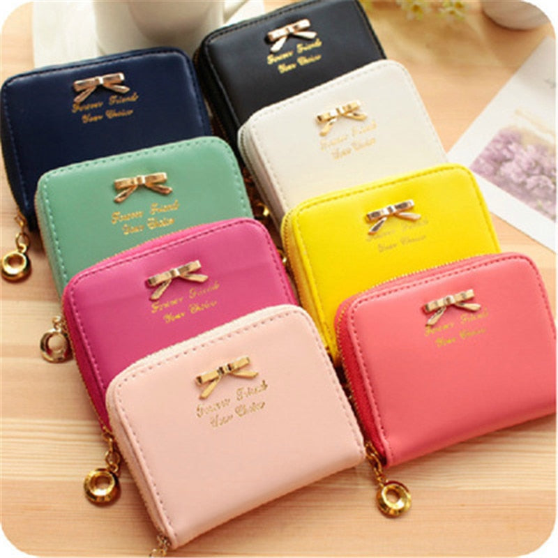 High quality Brand Wallet Women Bowknot Small Purse PU Artificial Leather Wallet Female Zipper Coin Purse Wallet overwatch-geekbuyig