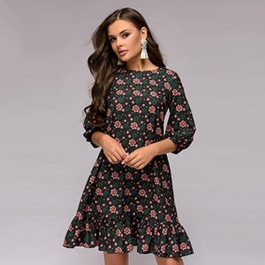 Elegant Women A-line Dress 2018 New Style Flower printing Draped Middle Dress Women Casual autumn Autumn Vestidos-geekbuyig