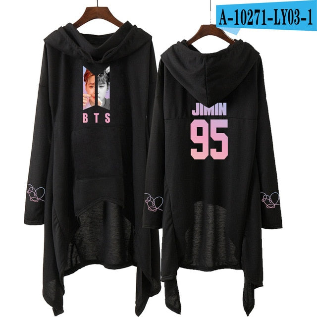 Drop shopping BTS dress fashion 2018 women Hooded sweatshirt BTS SUGA JIN JHOPE JIMIN love yourself kpop clothes pullover-geekbuyig