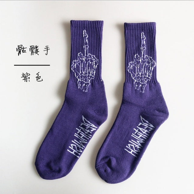 2018 Eyes Middle finger Harajuku Skate Tube Socks Men and women Street socks-geekbuyig