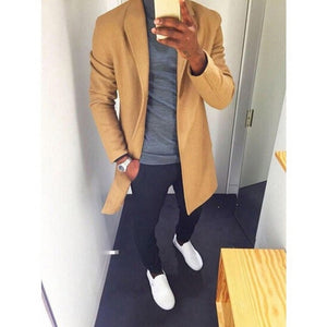 Fashion Winter Men's Trench Long Jackets Coats Overcoat Classic Jackets Solid Slim Fit Outwear Hombre Men Clothes 4 Colors-geekbuyig
