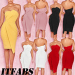 Women's Bandage Bodycon Party Club Short Mini Strapless Dress Women Solid Split Sleeveless Off Shoulders Summer Dresses-geekbuyig