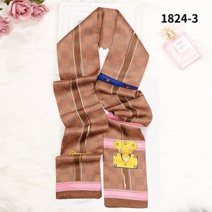 New Long Plaid Silk Scarf Women Brand Bag Scarf Striped Double Faced Luxury Fashion Lady Tie 120x7cm-geekbuyig