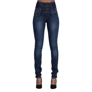 LITTHING 2018 New Women Denim Pencil Pants Ladies High Stretch Jeans Femme High Waist Jeans Trousers with Buttons Wholesale Jean-geekbuyig