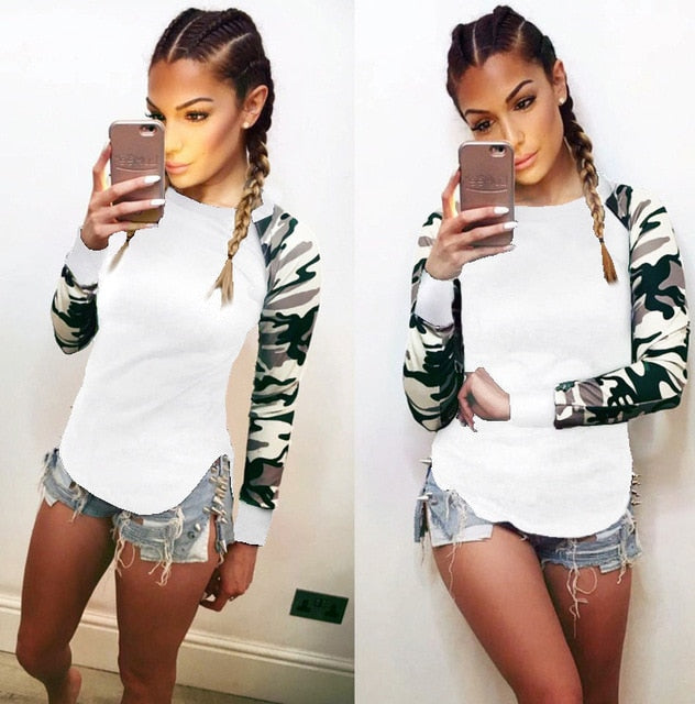 Autumn 2018 Trendy Women Patchwork Long Sleeve Army Camouflage T Shirt Tops Round Neck T Shirts Tops Tees Plus Size 5XL-geekbuyig