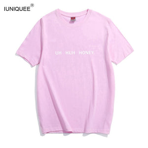 2017 Women Summer Short Sleeves T Shirts UH HUH HONEY O Neck Black Tees Letter Print Women Tops and Tees-geekbuyig