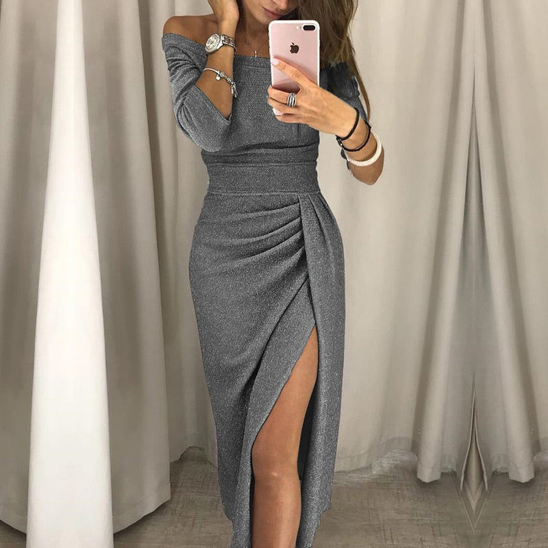 2018 new fashion lady sexy one-shoulder dress autumn long-sleeved knee-length dress-geekbuyig