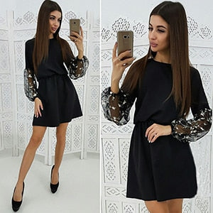 2019 Spring Fashion Embroidery Mesh Patchwork Dress Women's Lantern Sleeve A Line Dress Casual Long Sleeve Party Mini Dresses-geekbuyig