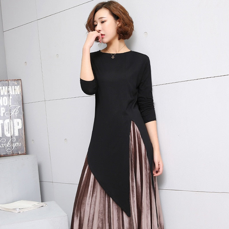 LANMREM 2019 New Summer Round Collar Long Sleeve Grey Irregular Hem Individuality Top Fashion Tide Korean Women T-shirt FB099-geekbuyig