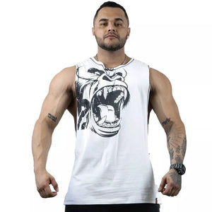 New Gorilla Wear Muscle cotton Tank Tops For Men Print Sleeveless gyms Stringer Tank Tops Male-geekbuyig