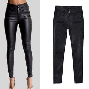 Big Plus Size PU Leather Pants Women Hip Push Up Black Sexy Female Stretch Leggings Jegging Casual Skinny Pencil Pants-geekbuyig