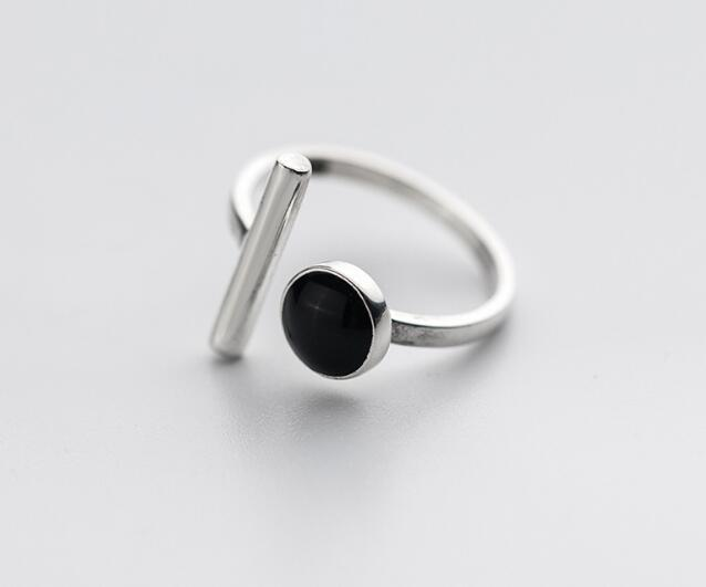 100% Authentic REAL.925 Sterling Silver Fine Jewelry handmade Black Agate stone &Lucky staright Bar open geometric Ring GTLJ1426-geekbuyig
