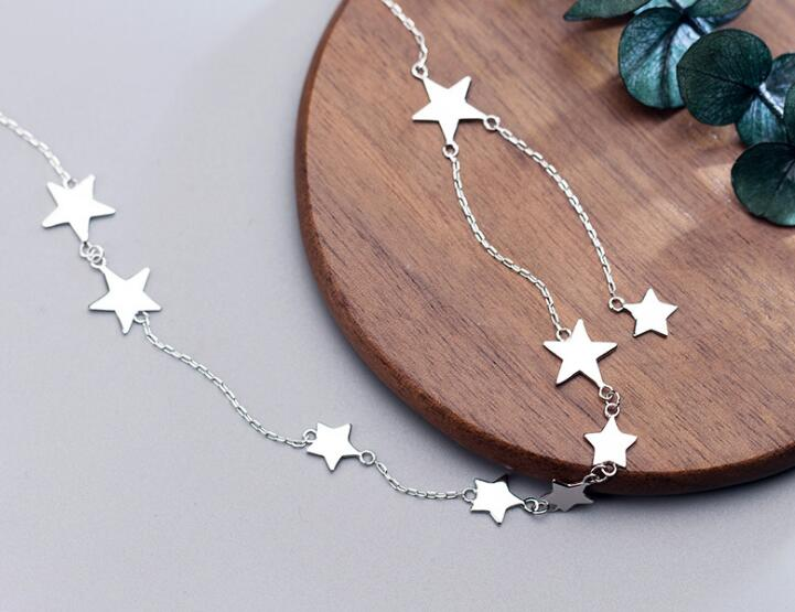 Women's 100% real 925 Sterling Silver Fine Jewelry Polished Stars Pendant Choker Short necklace GTLX1626-geekbuyig